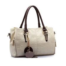 Women's Ladies Handbag Leather Shoulder Bag Trendy Message Bag Creamy white