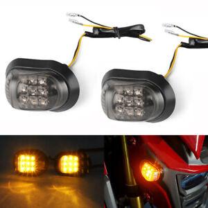 2x Flush Mount Amber Motorcycle LED Turn Signal Light Indicator For Yamaha Honda