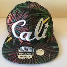 CALI Headlines SnapBack Hat Palm Tree Fronds Colorful Pattern California Cap NEW