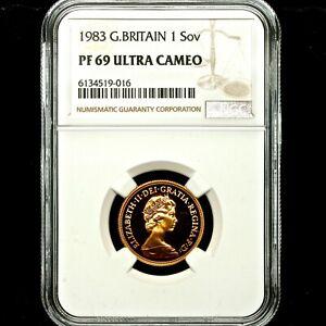 1983 Queen Elizabeth II Great Britain Gold Proof Sovereign NGC PF69 UCAM