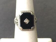 ART DECO 18KT WHITE GOLD FILIGREE ONUX DIAMOND RING SIZE 5.5