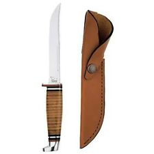 Case Cutlery 381 Case 316-5 Leather Hunter with Stainless Steel Fixed Blade Leat