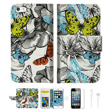 Butterfly Garden Wallet  Case Cover For Apple iPhone 6 6S -- A018