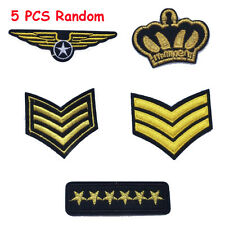 5pcs Iron on Patch Military Army Soldier Rank Insignia Embroidered Sewing Badge