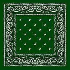 vert chasseur coton BANDANA cachemire tête enveloppant Scarve écharpe mouchoir
