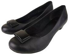 Clarks Women's Black Leather Shoes Slip On Round Toe Low Heel UK 6.5 EU 39.5