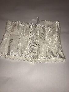 Lovely White Silver Patterned Boned  Corset Size 3XL
