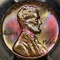 Rainbow Toned PCGS MS65RB 1966 P Lincoln Wheat Cent Neon Colors PQ Registry 65RB