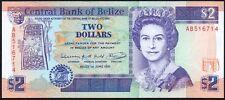 1991 BELIZE $2 DOLLARS BANKNOTE * AB 516714 * aUNC * P-52b *