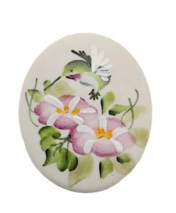 Vintage Brooch Signed Nancy Gribble Handpainted Hummingbird Flowers Ceramic