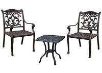 Outdoor bistro 3 piece set patio end table Elisabeth and 2 chairs Flamingo