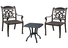 Outdoor 3 piece bistro set patio end table Elisabeth and 2 chairs Flamingo