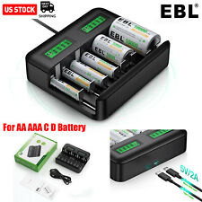 EBL 8 Bay LCD AA AAA C D Battery Charger for Rechargeable Batteries W/ USB Port