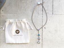 Rebekah Price crystal necklace silver blue drop chocker circle pendant white