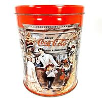 Coca-Cola Collectible Tin Old Fashioned Bar Large Round Decorative Coke Canister