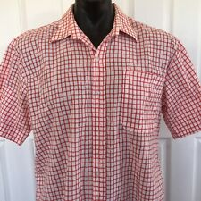 Vintage Callan Mens Medium Casual Short Sleeve Red Check Button Down Shirt