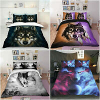 Wolf Animal Quilt Doona Duvet Cover Set Single/Double/Queen/King Size Bed Linen