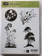 Stampin Up SERENE SILHOUETTES clear mount stamps flowers vines Tree birds