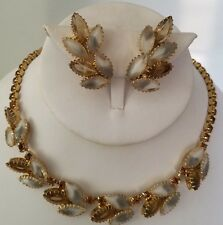 JULIANA NECKLACE & CLIP EARRINGS - CLEAR W/ WHITE  & AMBER RHINETONES