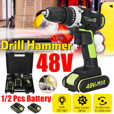 48V Electric Power Cordless Drill Woodworking Tool Hammer Rechargeable  !