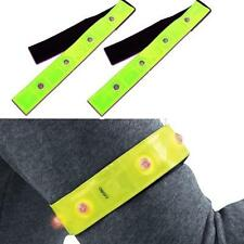 Running Cycling Jogging Walking Safety Reflective Yellow Armband Red LED Lights