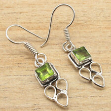 Designer Green Peridot Gems Earrings Pair ! 925 Silver Plated Well Made Jewelry