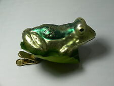 RARE RETIRED CHRISTOPHER RODKO FROG ON LILY PAD CLIP ON GLASS ORNAMENT