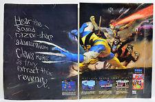 X-Men for Sega Genesis 1993 vintage video game two-page Print Ad