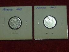 1942 & 1943 France 50 centimes VGC L@@K!
