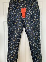 HILFIGER COLLECTION Tommy Navy Blue Floral Structured Trousers - Size 8 RRP £240
