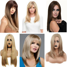Women Gradient Long Straight Wavy Hair Wig Fashion Ombre Synthetic Full Wigs UK