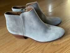 New Sam Edelman Petty Putty Gray Suede Ankle Booties Boots Women's Sz 8.5