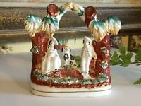 Antique English Staffordshire Pottery Victorian Couple in a Garden  with Dog
