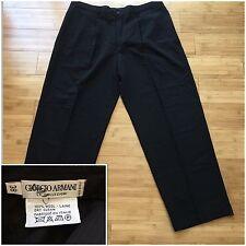 GIORGIO ARMANI Le Collezioni Mens Wool Dress Pants - Pleated Cuffed Black 38x31