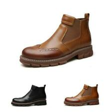 Mens Casual Ankle Boot Chelsea Leather Carved Dress Work Business Wing Tip Shoes
