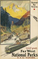 Vintage Travel Poster Visit Far West National Parks USA - Canada 35.8 x 24 inch