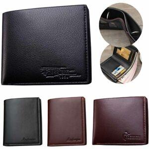 Leather Men Purse ID Credit Card Wallet Billfold Purse Clutch Blocking Anti Scan