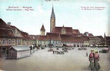 Transylvania 1917 Medias Mediasch Medgyes,Central square,animated,rare cens. pc