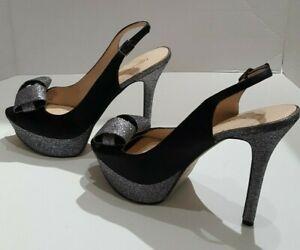 ENZO ANGIOLINI Open Toe Pump, Heels Sz 8.5 M Satin Bow, Glitter Trim Dress Shoe