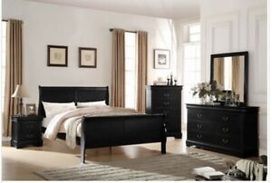 Acme Furniture Louis Philippe Queen Bed In Black
