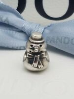Authentic Genuine Pandora Sterling Silver Christmas Winter Snowman Charm 790374