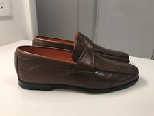 SANTONI Loafers Brown Leather Flat Mens Shoes Made in Italy US  7 D
