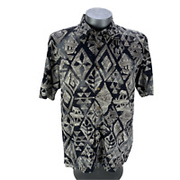 Quicksilver Waterman Collection Button Down Hawiian Shirt Mens Size L SS Black