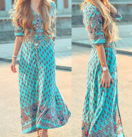 Women Lady Boho Kimono Sleeve Floral Long Maxi Summer Beach Dress Sundress