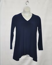Linea by Louis Dell'Olio Moss Crepe V-neck Swing Top Size S Navy