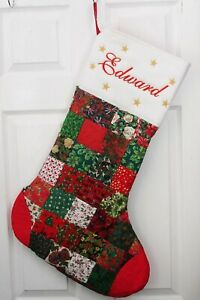 Large personalised handmade patchwork Christmas Stocking with embroidered name