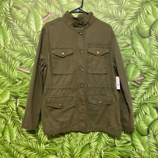 WOMENS GAP MILITARY UTILITY SLUB JACKET SZ Large  OLIVE GREEN COAT Button Up