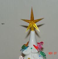 Ceramic christmas tree star gold large twist bulb top vintage
