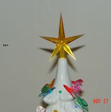 Ceramic Christmas Tree Star GOLD Large twist bulb top vintage replacement 2-1/2