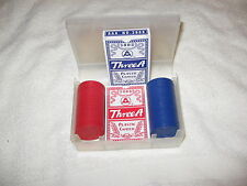 Travel Poker Set NEW but missing 3 Red Chips 2 Card Decks Excellent Condition